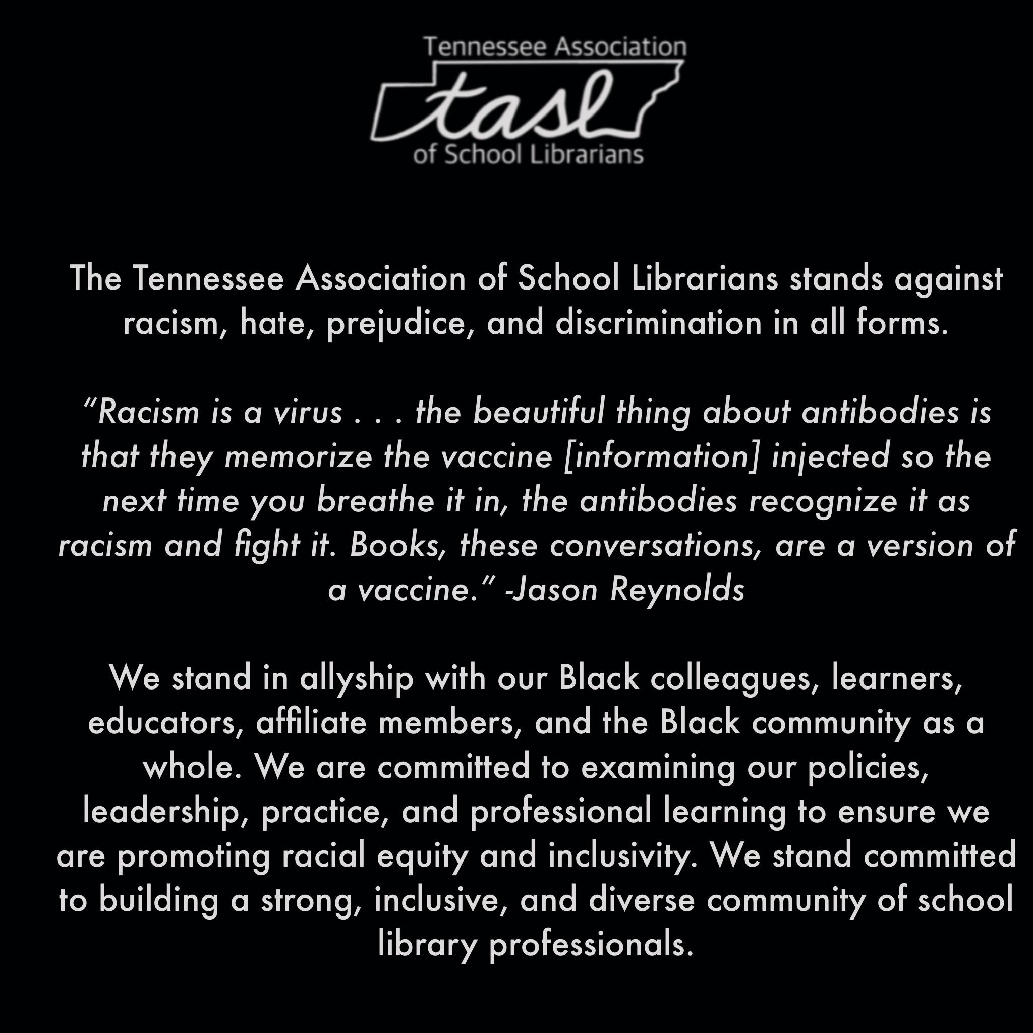 TASL Anti-Racism Statement